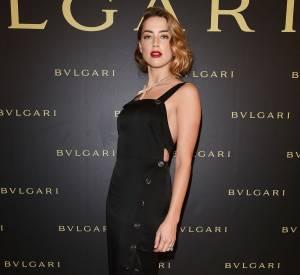 Amber Heard en Temperley London à la soirée Bulgari le 7 juillet 2015 à Paris.