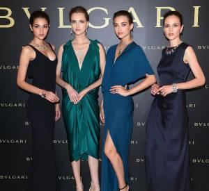 """Les mannequins présentent la collection """"Giardini Italiani""""de Bulgari le 7 juillet 2015 à Paris."""