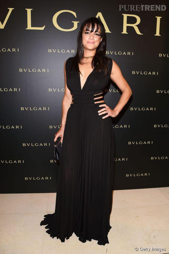 Michelle Rodriguez à la soirée Bulgari le 7 juillet 2015 à Paris.