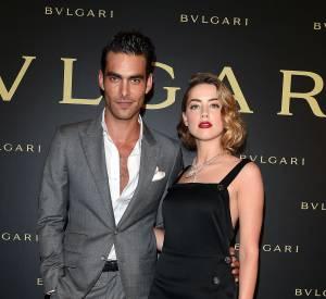 Jon Kortajarena et Amber Heard à la soirée Bulgari le 7 juillet 2015 à Paris.