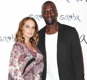 """Omar Sy et sa femme ont pris la pose à l'avant-première new-yorkaise de """"Samba"""", le 16 juillet 2015."""