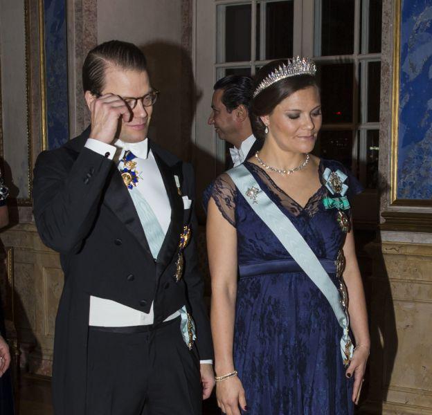 La princesse Victoria de Suède lors du dîner organisé pour la visite du président de Tunisie le 4 octobre 2015 à Stockholm.