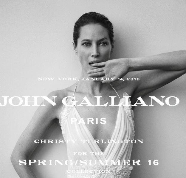 Christy Turlington, nouvelle égérie de la Maison John Galliano shootée par Inez van Lamsweerde et Vinoodh Matadin.