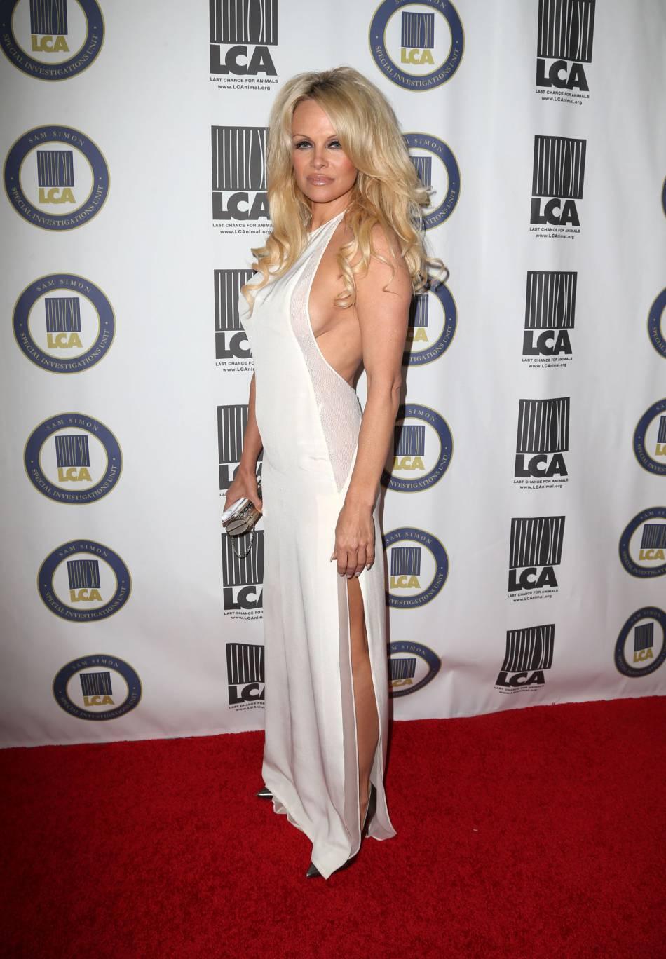 Pamela Anderson fait tomber les vêtements pour sa collection de chaussures.