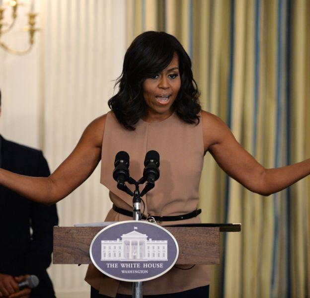 """Michelle Obama et son top nude pour la dernière """"In Performance at the White House"""", mercredi 24 février."""