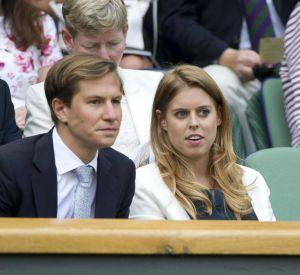 La princesse Beatrice d'York et son compagnon Dave ClarK au tournoi de tennis de Wimbledon à Londres le 2 juillet 2014.