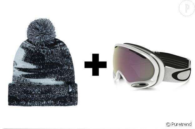 Bonnet The North Face, 20€ + masque Oakley, 169€.
