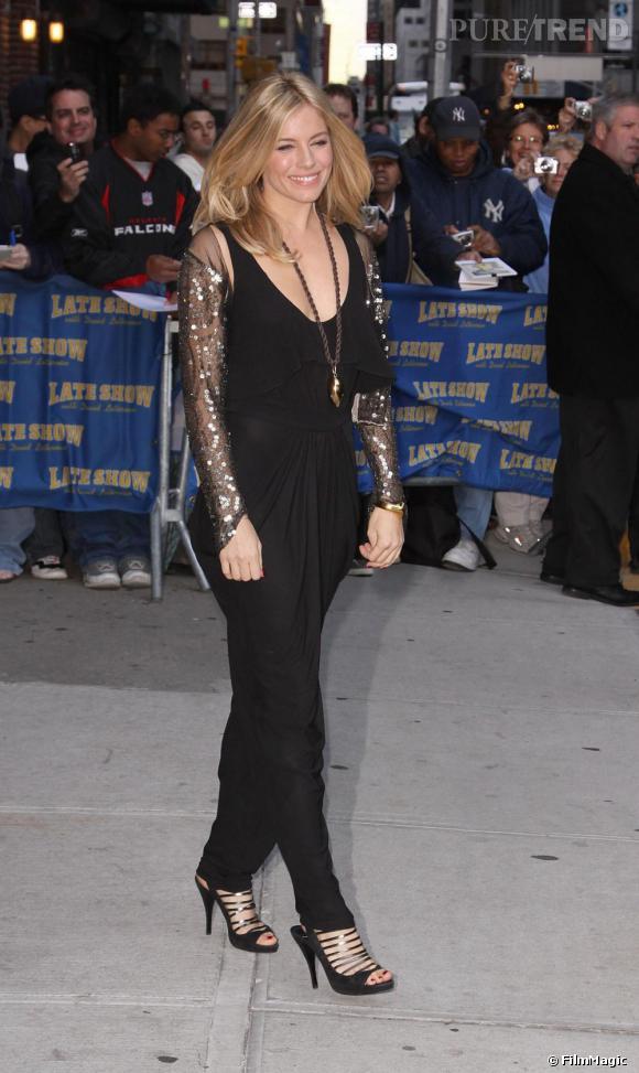 Sienna Miller se rend à l'émission de David Letterman à New-York