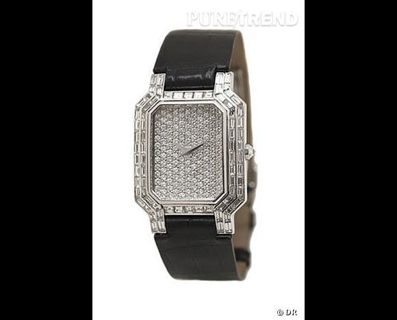 Montre Ultra Plate, Repossi       Montre quartz ultra plate en or blanc, cadran pavé de diamants ronds, lunettes serties de diamants baguette et bracelet en alligator.