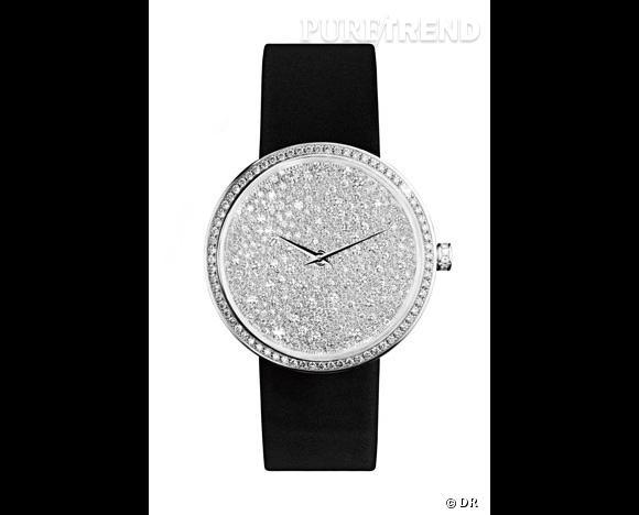 """Montre """"D"""", Dior Haute Horlogerie  Un cadran scintillant où les diamants volent la vedette aux chiffres. Boîtier et cadran en or blanc, lunette, couronne et cadran sertis de diamants, bracelet de satin noir."""