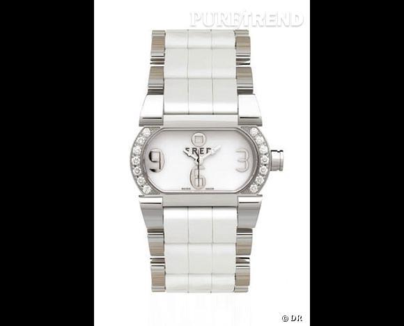 Montre Move 1, Fred         Plus discrète, cette montre opte pour le mélange des genres, et mixe diamants, acier et caoutchouc blanc.