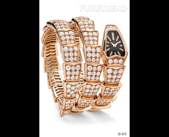 Montre Serpenti, Bulgari       Le serpent, symbole fort de la maison Bulgari s'enroule autour du poignet avec cette montre deux tours en or rose full pavé diamants.
