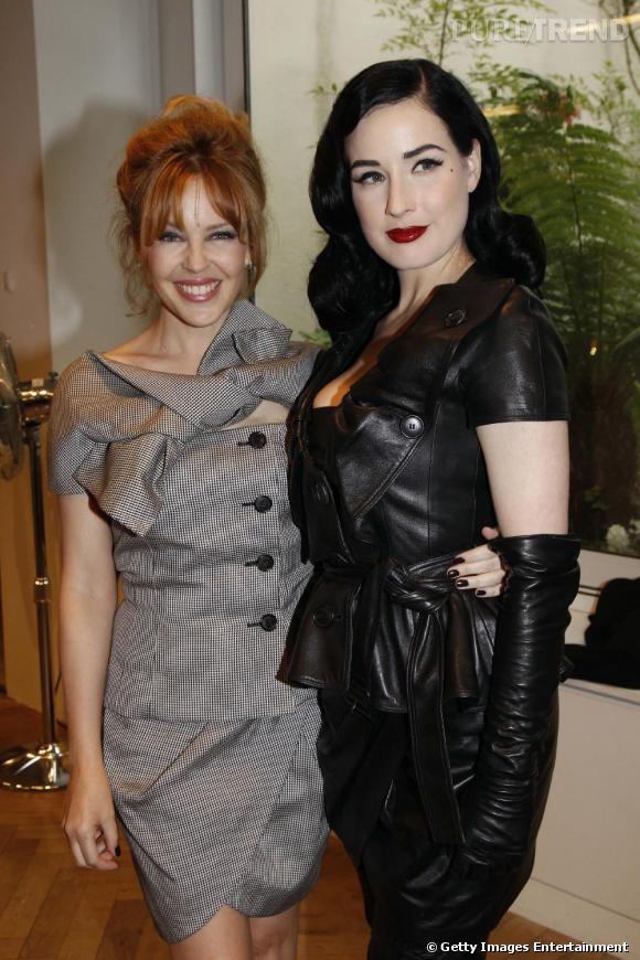 Kylie Minogue et Dita Von Teese au défilé Dior