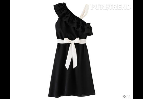 Robe Jus d'Orange  L'option girly chic, avec cette robe à volants bicolore et asymétrique.  Prix : 79€