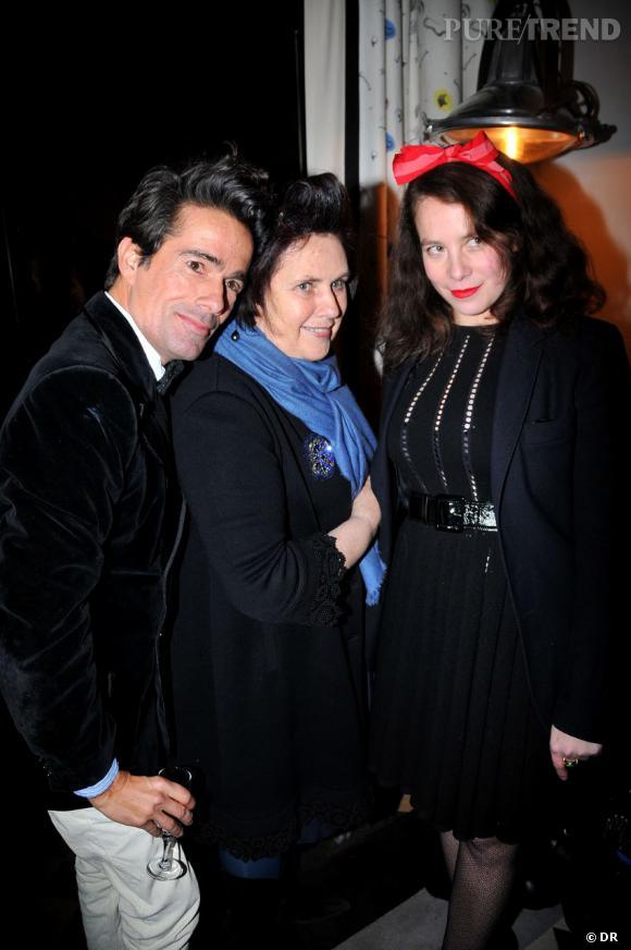 Vincent Darré, Suzy Menkes, Olympia Le Tan au cocktail pour  Olympia et Pierre Le Tan à la boutique Vincent Darré