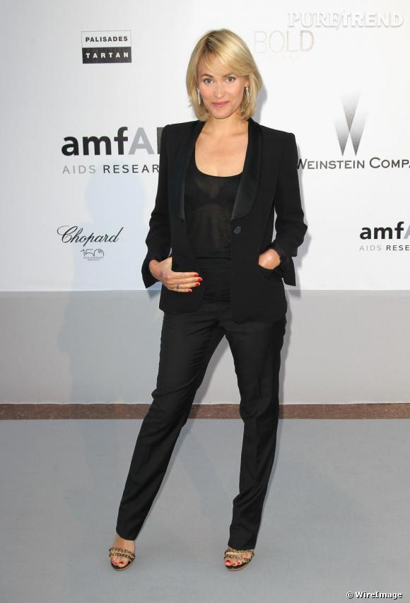 Judith Godrèche optait pour un total look noir lors de la soirée de l'amfAR, Cinema Angainst Aids.