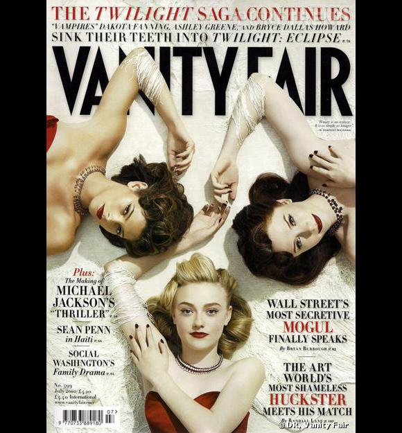 Ashley Greene, Dakota Fanning et Bryce Dallas Howard en couverture du Vanity Fair de juillet 2010.