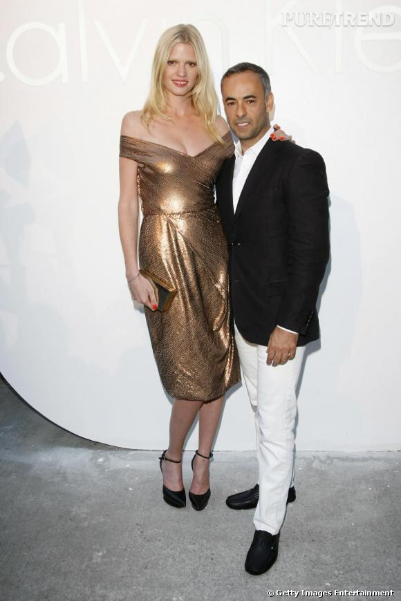 Lara Stone aux côtés de Francisco Costa, designer de Calvin Klein Women.
