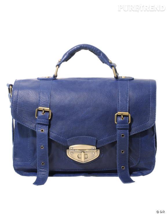 Cartable en cuir bleu, Asos     Prix :  92,65 €    En vente sur   :   www.asos.com