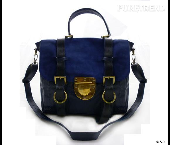 Sac en cuir bleu et noir, Su-Shi      Prix :  198 €    En vente sur     www.sushibags.bigcartel.com