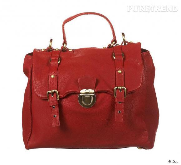 Sac en cuir rouge, Topshop     Prix :  110 €      En vente sur     www.topshop.com
