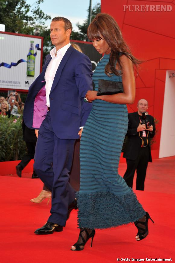 Naomi Campbell lors de la première de Miral à la 67e Mostra de Venise aux côtés de Vladimir Doronin.