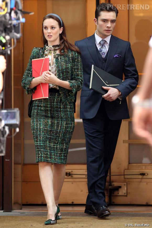 Blair Waldorf et Chuck Bass, un couple BCBG. Leighton arbore comme personne le tailleur tweed.