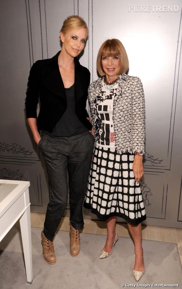 Charlize Theron et Anna Wintour à la Vogue Fashion Night de New-York.