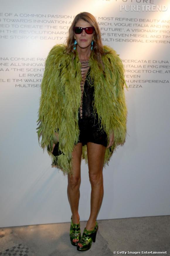 Dans la garde robe d'Anna Dello Russo, des minirobes, des plumes, des chaussures excentriques et des lunettes de soleil de toutes les formes.