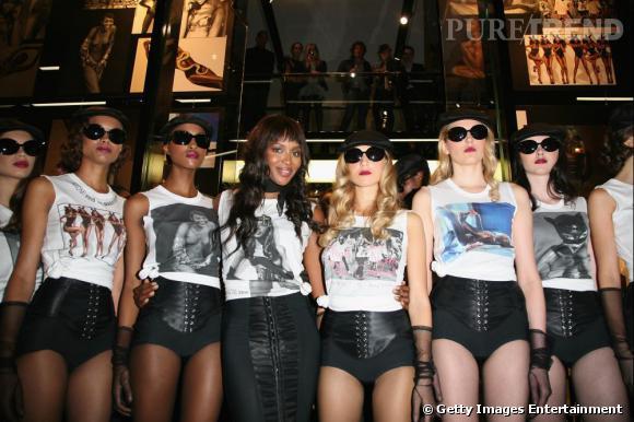 Naomi Campbell et ses mannequins.