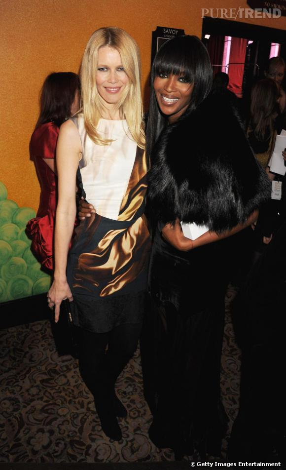 Claudia Schiffer et Naomi Campbell aux British Fashion Awards.