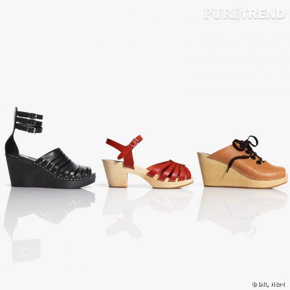Sabots nés de la collaboration entre H&M et Swedish Hasbeens.