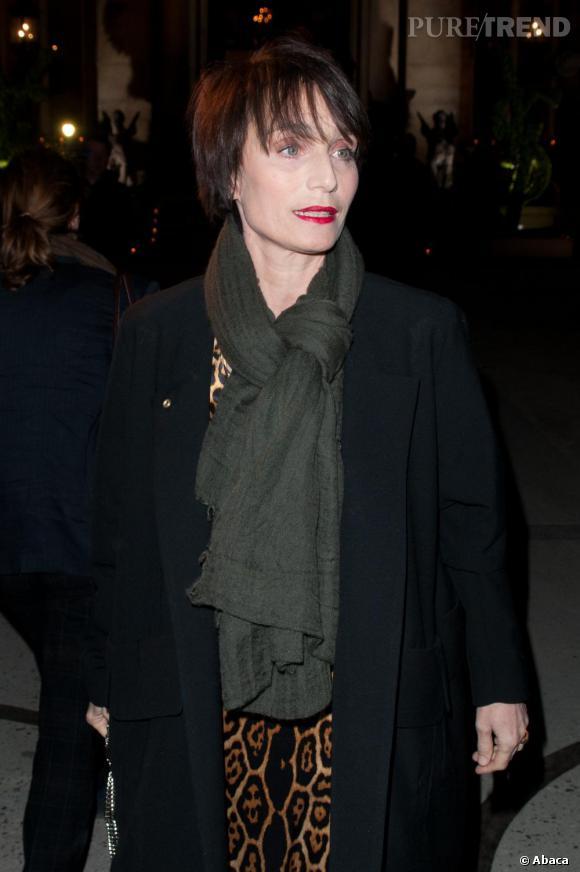 Kristin Scott Thomas au défilé Yves Saint Laurent.