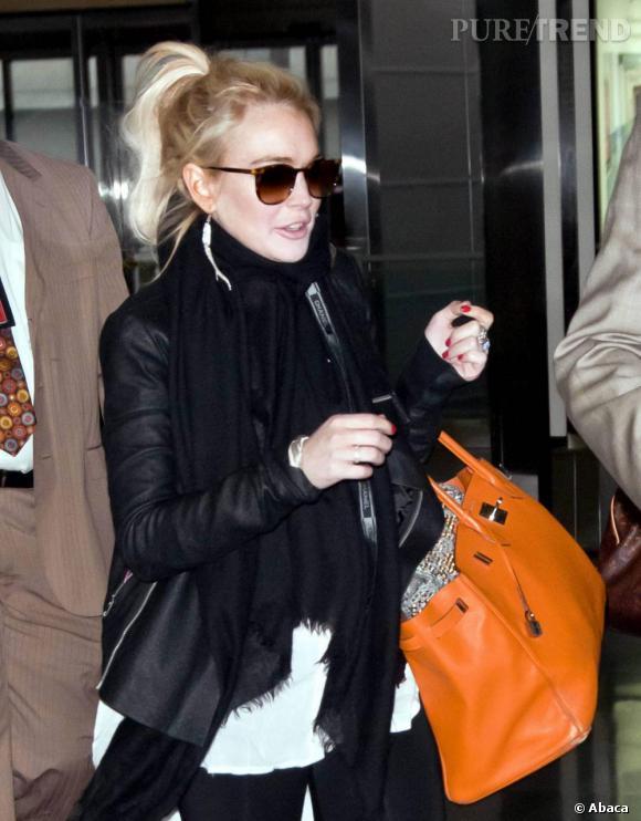 Lindsay Lohan à l'aéroport JFK, à New York.