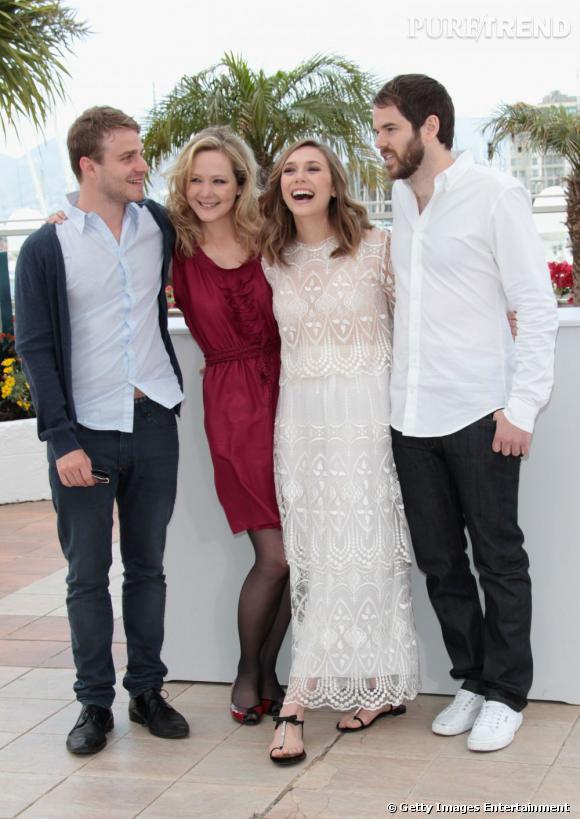 L'équipe du film : Brady Corbet, Louisa Krause, Elizabeth Olsen et le directeur Sean Durkin.