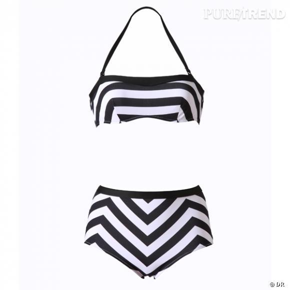 Maillot de bain Etam       Un autre deux pièces rétro, pour étoffer sa collection beachwear.       Prix : 20€ le slip taille haute, 25€ le bandeau armaturé.