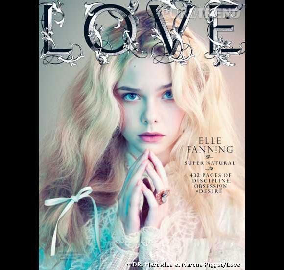 """Elle Fanning en couverture du 6e numéro de """"Love""""."""