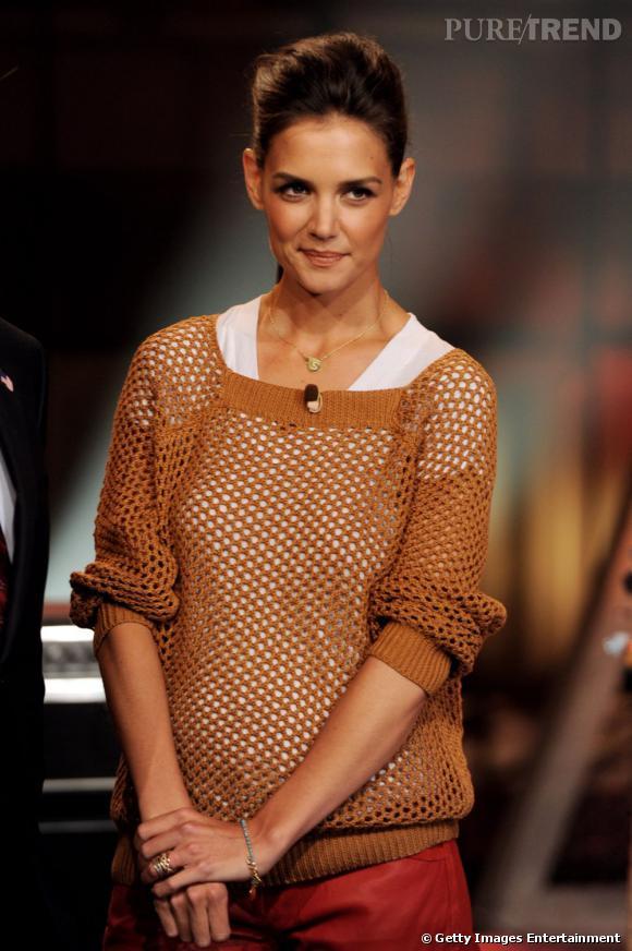 Katie Holmes invitée sur le plateau de l'émission de Jay Leno.
