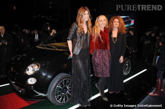 Lors de l'alliance Fiat 500 et Gucci : Bianca Brandolini d'Adda, Franca Sozzani (rédactrice en chef de Vogue Italie) et Ginevra Elkann (petite fille de Gianni Agnelli) ont posé ensemble.