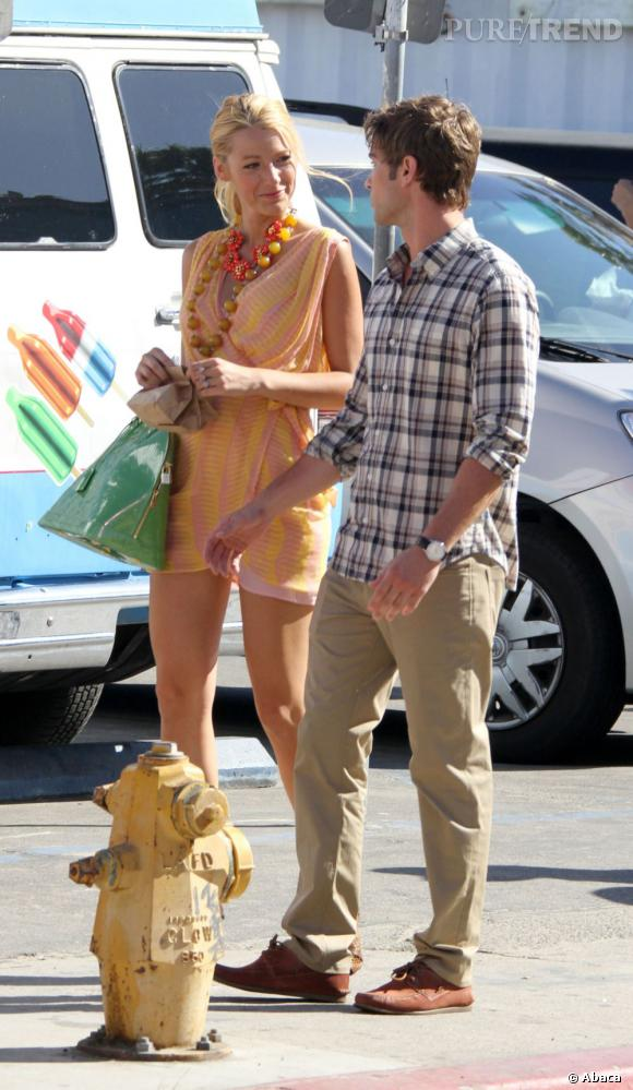 Blake Lively et Chace Crawford sur le tournage de la saison 5 de Gossip Girl à New York.