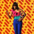 Tyra Banks totalement color block.