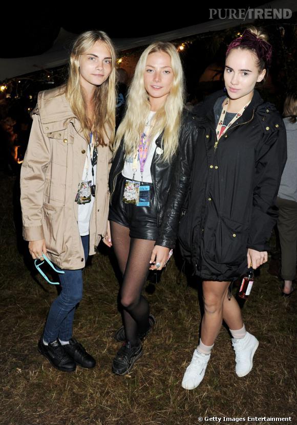 Cara Delevingne, Clara Paget et Suki Waterhouse, une jolie brochette de fashionistas.