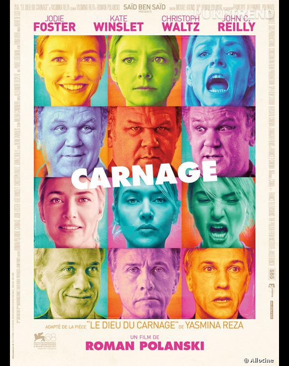 "Kate Winslet, Jodie Foster, John C. Reilly dans  ""Carnage"" ."