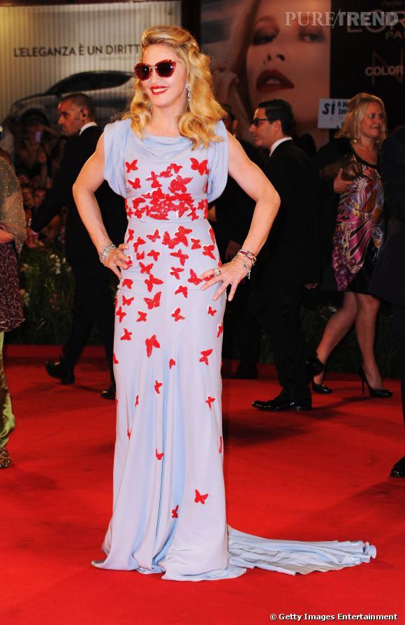 """Madonna lors de la première de son film """"W.E."""" au Festival de Venise."""