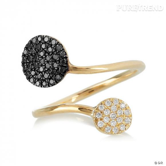 Bague Diane Kordas       Bague en or jaune, or noir, diamants blancs et noirs.       Prix : 1224.87€     En vente sur  www.net-a-porter.com
