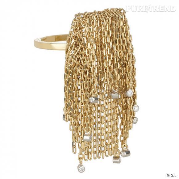 """Bague """"franges"""" Solange Azagury Partridge       Bague en or jaune et diamants.       Prix : 7013€     En vente sur  www.net-a-porter.com"""