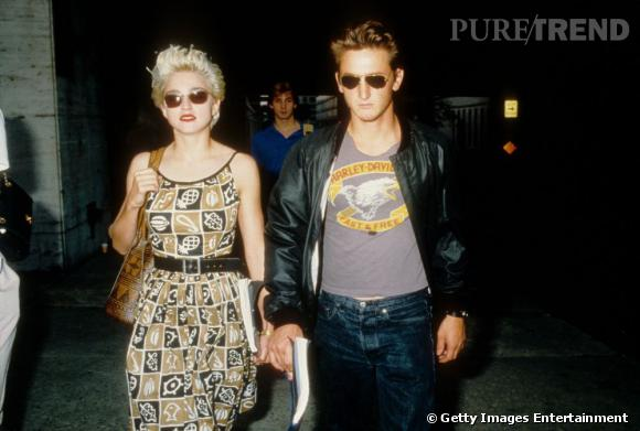 Madonna et Sean Penn, mariés de 1985 à 1989.