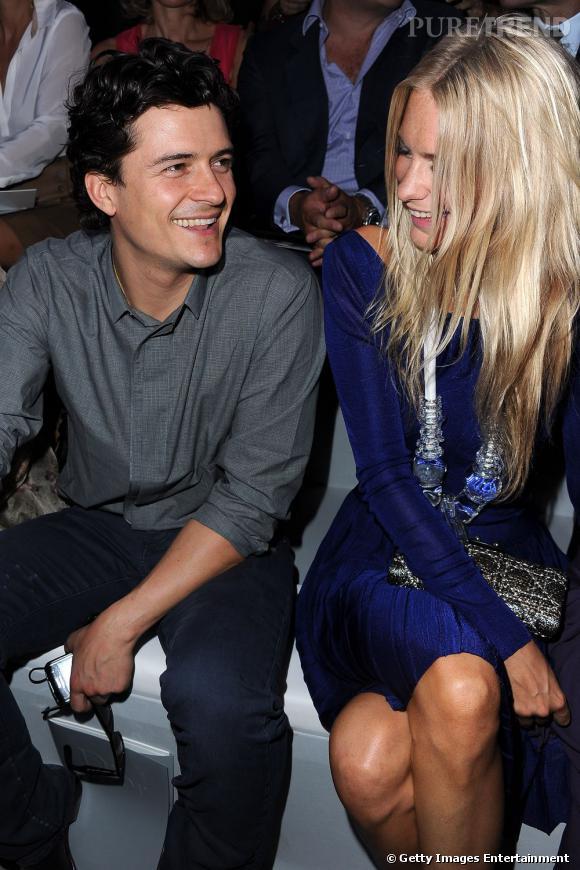 Orlando Bloom et Poppy Delevingne. Une complicité naissante au front row Christian Dior.
