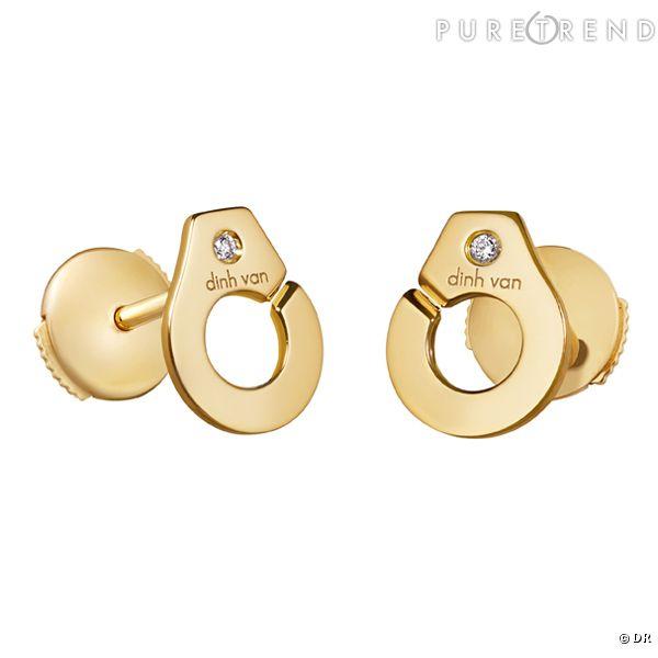 puces d 39 oreilles menottes dinh van boucles d 39 oreilles en or jaune et diamants prix. Black Bedroom Furniture Sets. Home Design Ideas