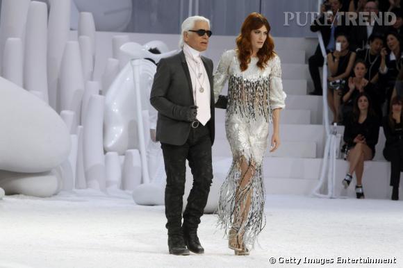 Karl Lagerfeld et Florence Welch lors du défilé Chanel printemps-été 2012.
